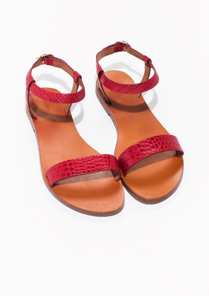 croco embossed ankle strap sandals red