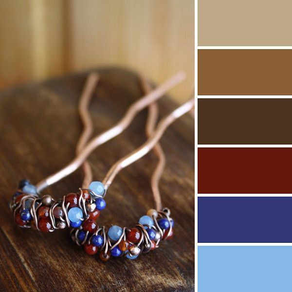brown and blue hues color scheme