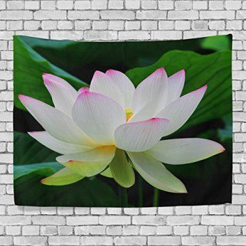 Create a relaxing refuge in your home with lotus flower wall art. You can use lotus flower wall decor in any room of your home but especially bedrooms, living rooms and bathrooms.  Although I love it in my office.  You can find cute lotus flower clocks, lotus flower wall tapestries, lotus flower wall decals, lotus flower wall murals that loook cute.  Custom Tapestry Lotus Flower Tapestry Wall Decor Living Room, Throw Bedspread, Dorm Tapestries 60 x 51 inches