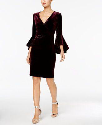 2c1189d25f121 Calvin Klein Velvet Bell-Sleeve Wrap Dress - Dresses - Women - Macy s