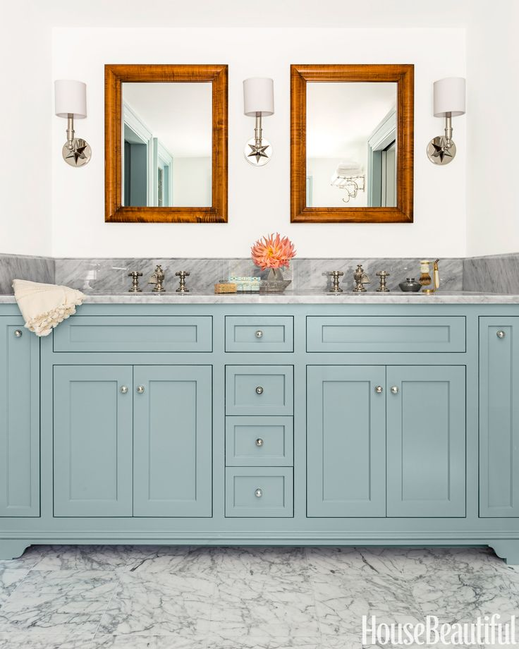 Thinking I Want To Paint Our Cabinets This Shade Of Blue: 14 Colorful Ideas For Your Bathroom