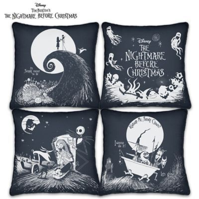 Custom-crafted canvas pillow set includes 4 pillows with images and phrases inspired by Tim Burton's iconic movie. Removable, machine washable covers.