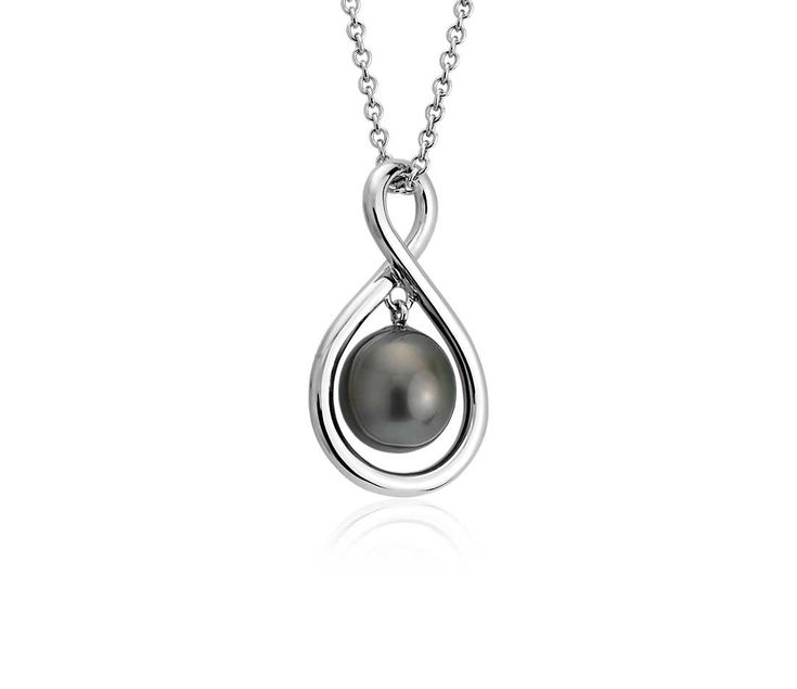 Tahitian Cultured Pearl Infinity Pendant in Sterling Silver (8-9mm)
