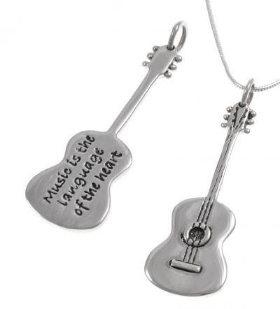 Blue Turtles Poetic Pieces Pendant - GUITAR - Sterling Silver. Available with your choice of verse inscribed on the back: 1. 'Music is the language of the heart' 2. 'Music gives wings to the soul'