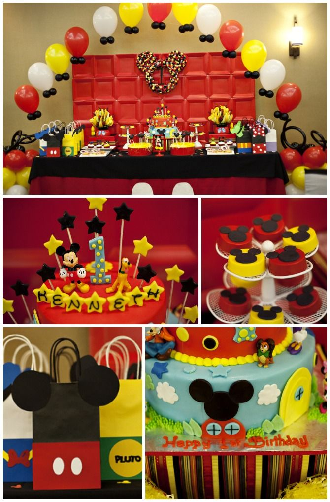 Here are some great Mickey Mouse birthday party ideas! Awesome birthday cake, cupcakes, and party decorations. See the whole party on CatchMyParty.com here: http://catchmyparty.com/parties/mickey-and-friends-at-kenneths-clubhouse #mickeymouse #boybirthday #partyideas