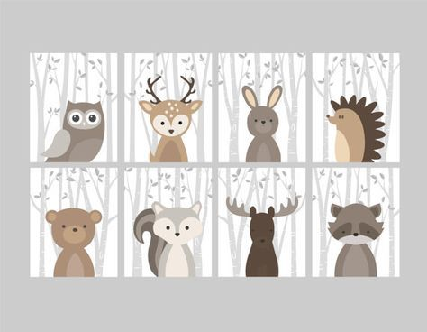 Baby Boy Nursery Art, Woodland Nursery Animals, Baby Room Decor, Forest Animal Prints, Set of 8 Owl Deer Rabbit Bear Squirrel Moose Raccoon – Margarita Tirado