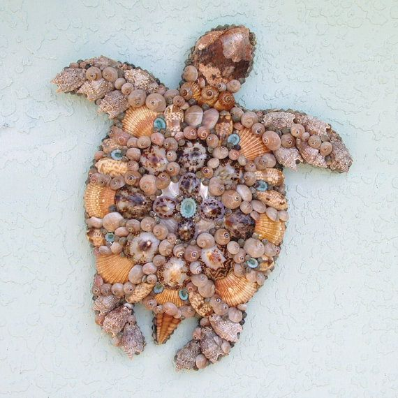 Attaccatura di parete questa tartaruga di mare utilizza una miriade di conchiglie e tortoiseshells. Si è fatto in toni marrone chiaro, marrone e blu con tortoiseshells lavanda al centro impreziosita da un limpit turchese. I gusci sono stati stratificati e accatastati fino a quando non hanno la curva naturale di una conchiglia di tartarughe di mare. La testa è una conchiglia di abalone molto vecchio e cè lucida madre di perla piastra a questo centro. Lattaccatura di parete di tartaruga di…