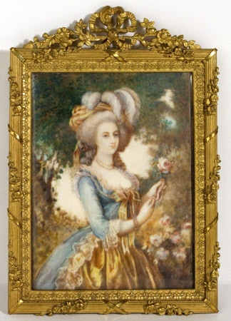 A miniature watercolor portrait of Marie Antoinette, after a portrait by Elisabeth Vigee-Lebrun. Unknown date. National Trust Collection