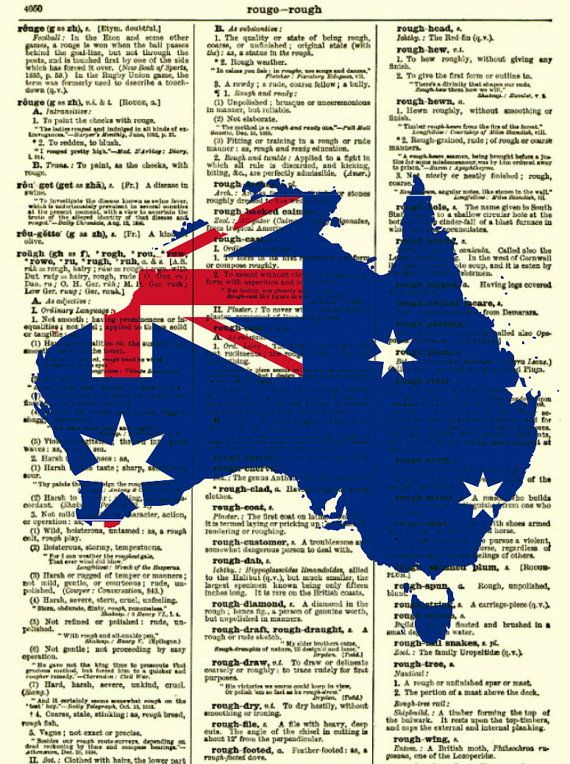 Australian Flag and Map Art Print, Australia Day Antique Dictionary Page, Wall Decor, Dictionary Art Print, Mixed Media Upcycled Book Art
