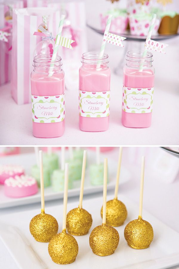 pink milk & glittered cake pops – perfect for a girls Christmas party
