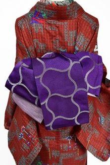 ペールピンクとブラックのフォークロア幾何学模様モダンなウール単着物 – アンティーク着物・リサイクル着物のオンラインショップ 姉妹屋