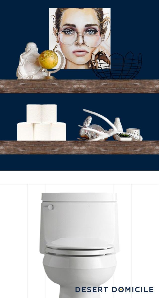 Chunky shelves above toilet, looks good
