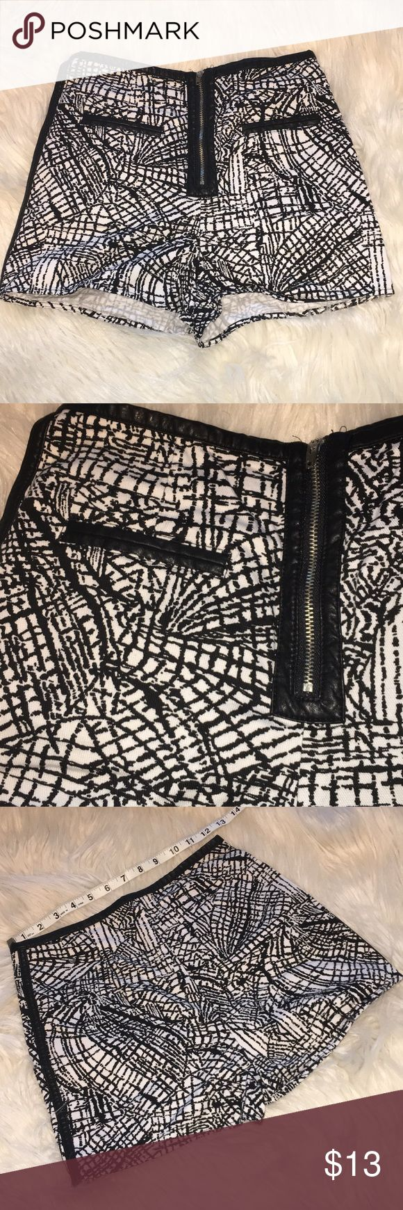 Black and White Geo Design Shorts - 2 Great Short Shorts! Looks Great w/a Black Leotard to Show Off Leatherette Piping and Faux Pockets.  Zipper Closure on Front.  Brand is Silence + Noise, Bought @ Urban Outfitters Urban Outfitters Shorts