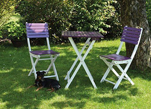 Balkonset Gartenmöbel Set 2 Stühle + 1 Tisch Eckig Akazie Flieder/weiss