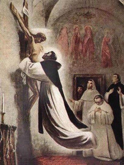 San Martin praying before the cross. This Cross still exists in the convent. San Martin en prière devant la croix. Cette croix existe encore dans le couvent