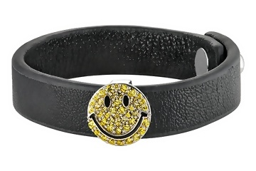 YELLOW CRYSTAL STERLING SILVER AND LEATHER SMILEY BRACELET