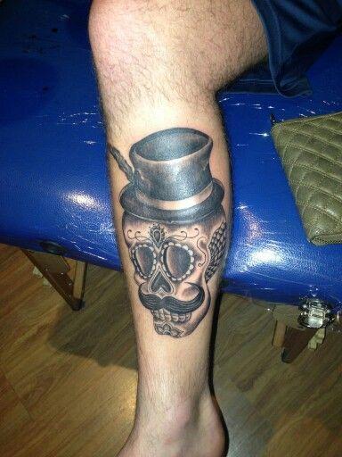 Moustache skull tattoo