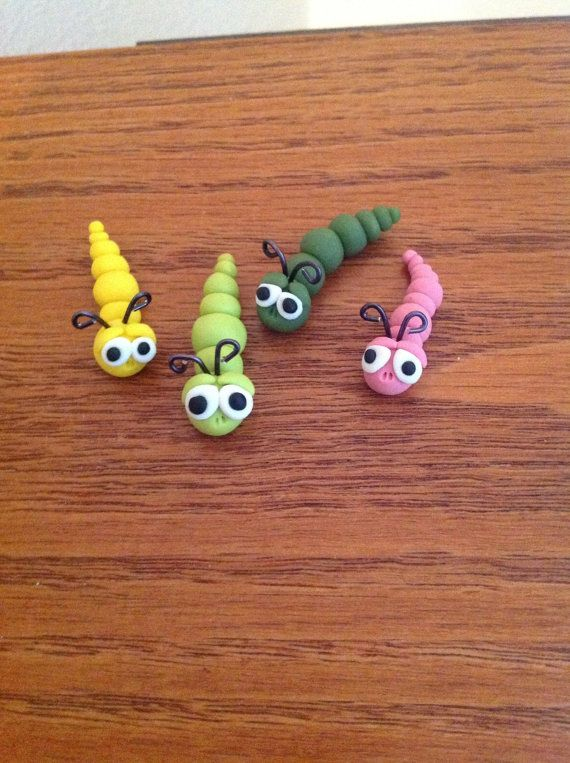 Miniature Garden Worms Polymer Clay by Whimsybydesign1 on Etsy, $3.75