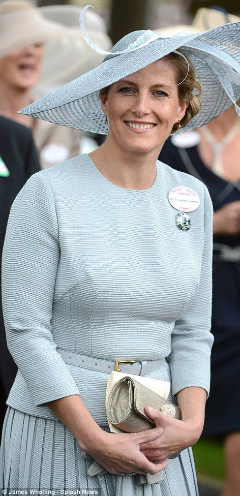Sophie Wessex looked immaculate in a dove grey skirt suit as she arrived to watch Carlton House in the Prince of Wales stakes at Royal Ascot. 6-20-2012