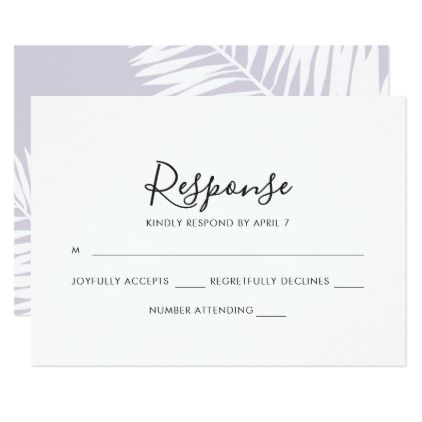 Graceful Palms Wedding Rsvp Card in Violet - wedding invitations cards custom invitation card design marriage party
