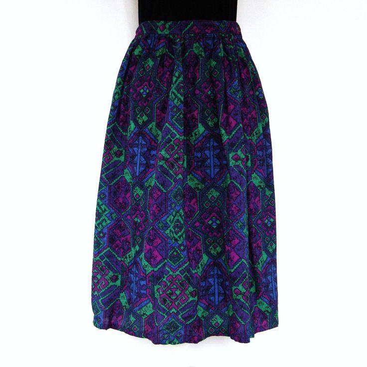 "Colorful Boho Midi Skirt with Pockets 30"" High Waist Flowy Abstract Print Summer Festival Skirt Sag Harbor by MODernThrowback on Etsy"