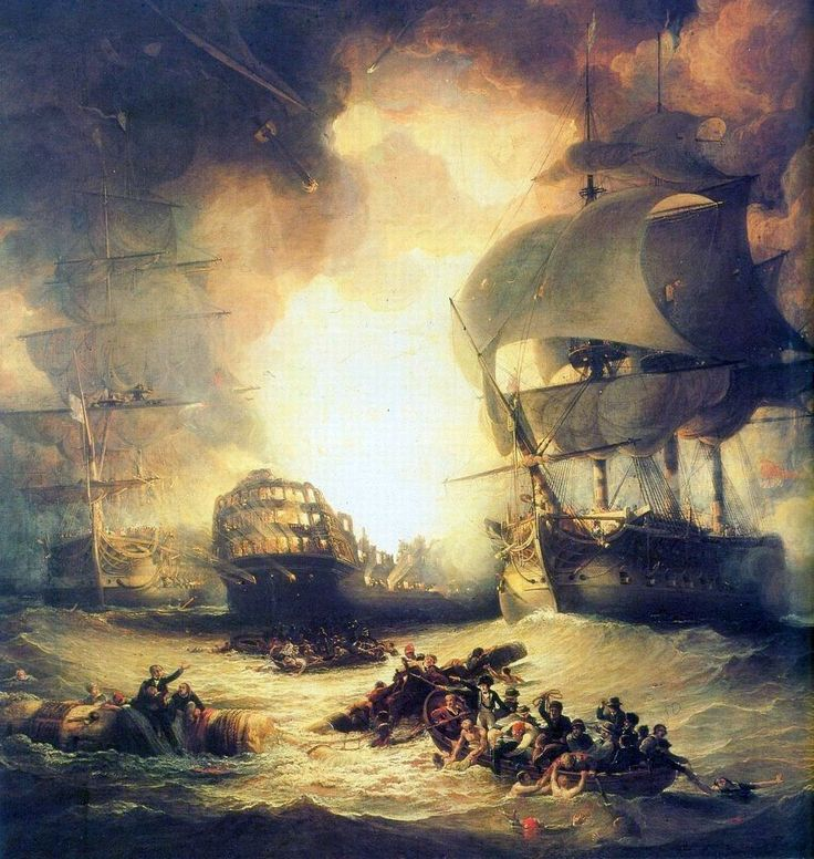 The Destruction of 'L'Orient' at the Battle of the Nile, 1 August 1798.