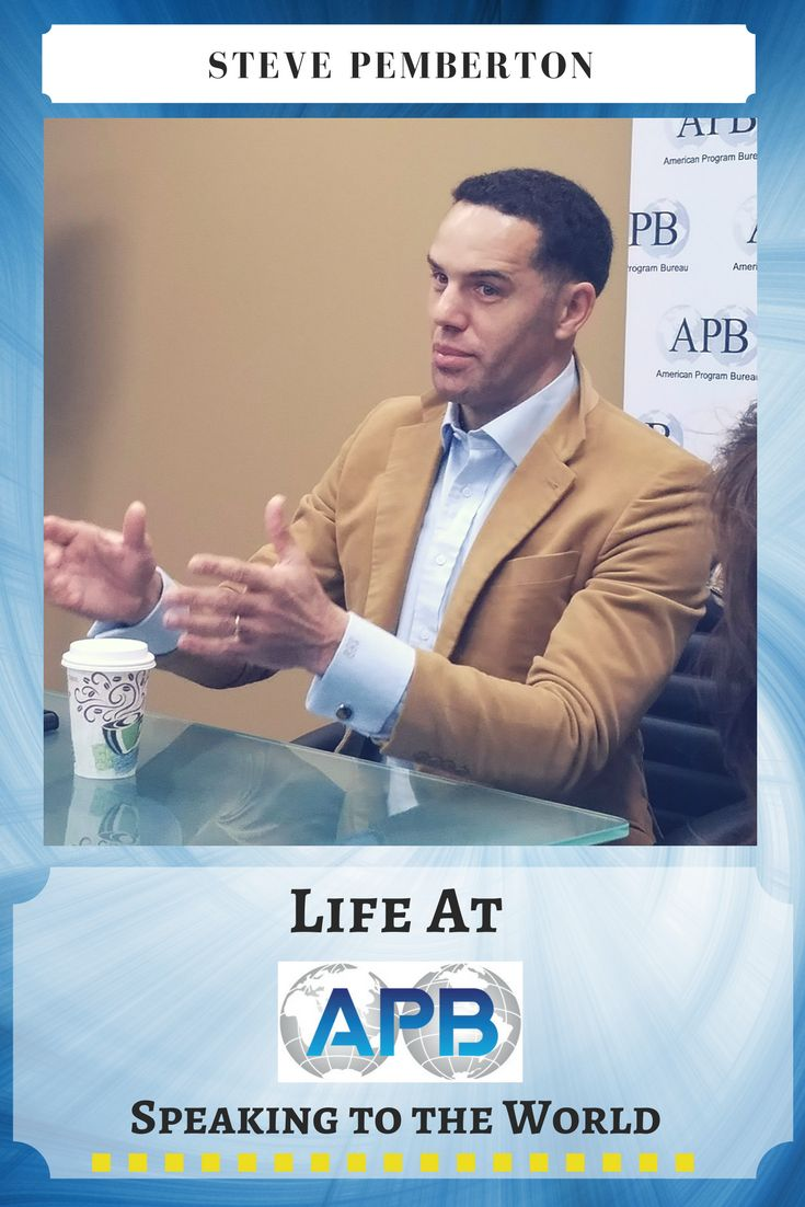 Steve Pemberton's story is about defying seemingly insurmountable odds— overcoming #abuse and neglect as an #orphan in foster care to become a trail-blazing #corporate executive, enlightened #diversity #leader, visionary youth #advocate and acclaimed #speaker. He recently came to the APB office to talk about his road to success. http://www.apbspeakers.com/speaker/steve-pemberton/