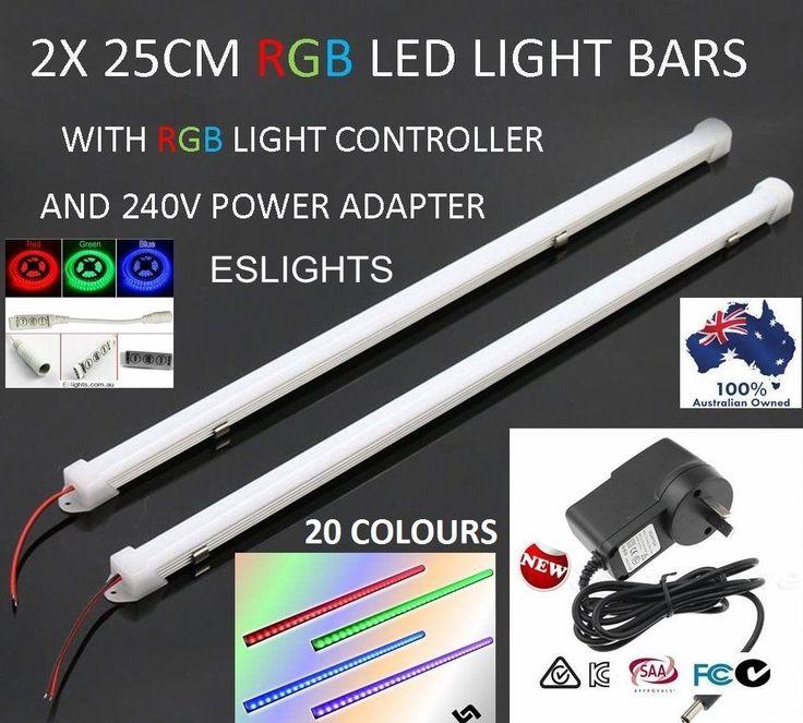 2X 25CM LED STRIP LIGHT BAR RGB 240V 12V POWER SUPPLY CAMPING HOME CAR UTE 4WD