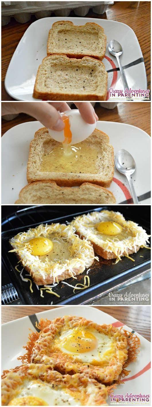 Delicious breakfast cheesy baked egg toast.