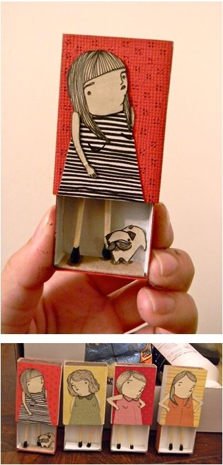 #matchbox #illustration #Mai Ly: Diy Ideas, Little Girls, Mai Ly, Matchbox Crafts, Self Portraits, Cute Ideas, Kids Crafts, Matchbox Art, Matching Boxes