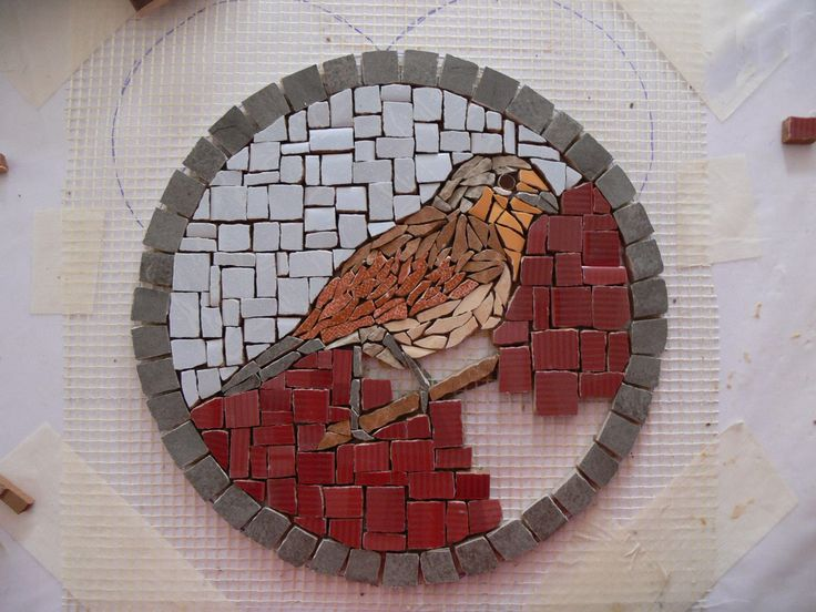 Mosaic decoration stone in process