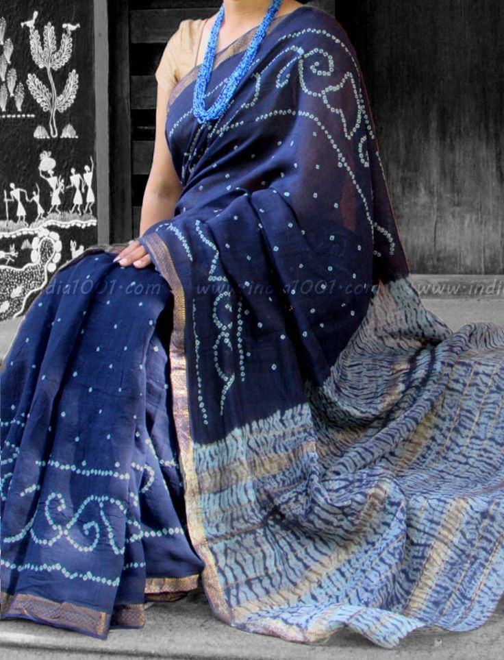 Handcrafted Bandhani & Shibori Chanderi Cotton Saree | India1001.com