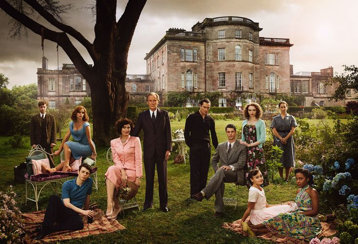 The cast of <em>Ordeal by Innocence</em>: Luke Treadaway, Alice Eve, Anthony Boyle, Anna Chancellor, Bill Nighy, Ed Westwick, Matthew Goode, Eleanor Tomlinson, Ella Purnell, Morven Christie, and Crystal Clarke, photographed at the Ardgowan Estate, in Inverkip, Scotland. Photograph by James Fisher.