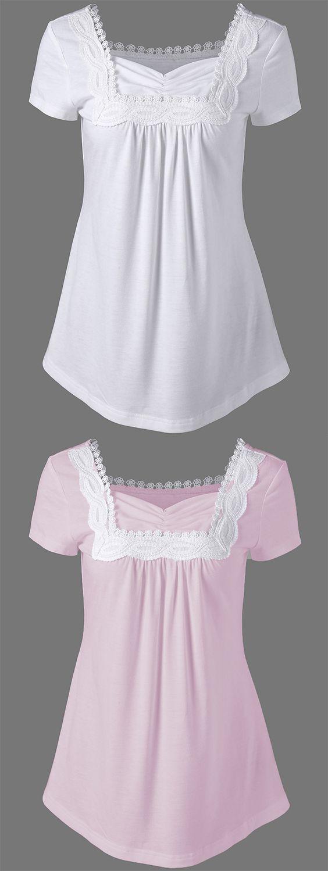 summer trends:Crochet Trim T-Shirt