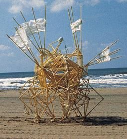 Sculpture Strandbeest (Beachanimal) by Theo Jansen. Created out of pvc pipes and tie wraps, propelled by the wind. Found skuttling along the Dutch beach it looks like a living creature!