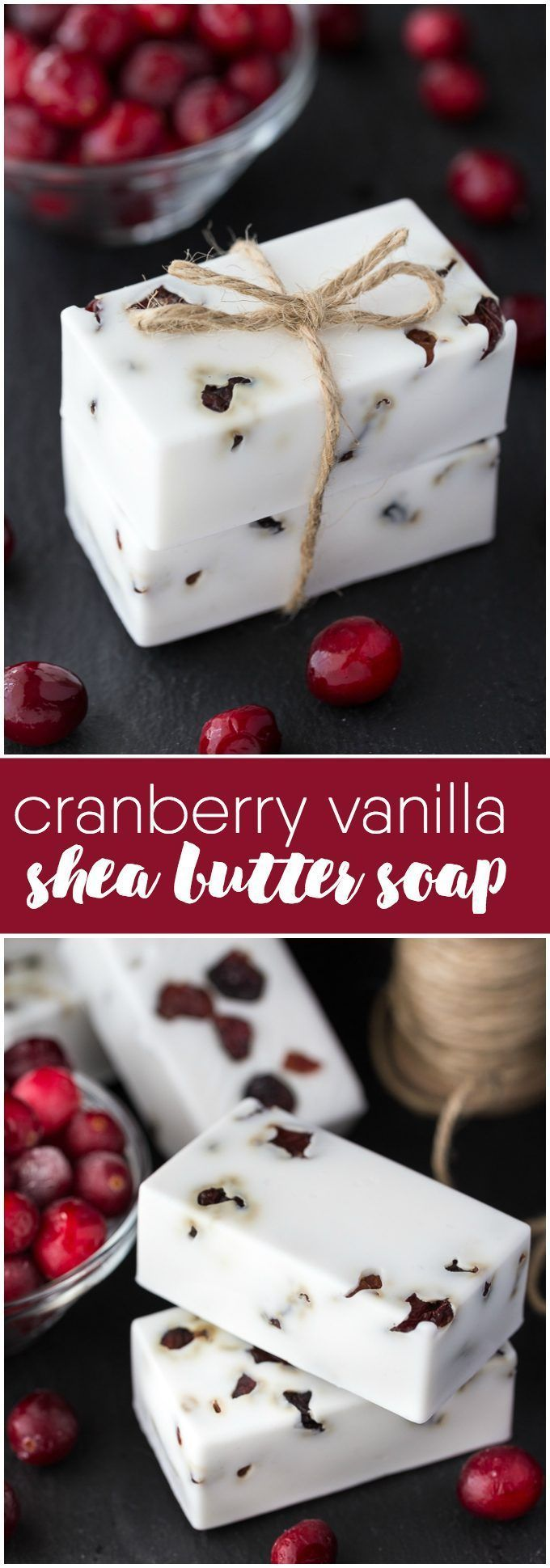 Make your own DIY soap perfect for holiday gift giving. This Cranberry Vanilla Shea Butter Soap smells amazing and looks impressive too.