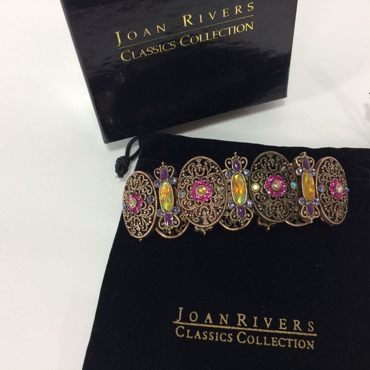 Joan Rivers Classics Collection Expansion Bracelet Antiqued Copper Crystals HTF  #JoanRivers #Ornate
