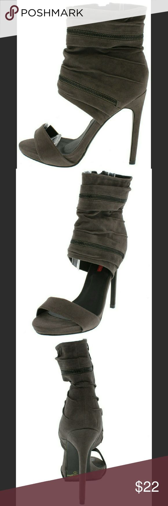 NEW Grey Open Toe Zipper Ankle Cuff Sandal Heels Life's too precious to wear boring shoes! Let us take you to the next level! These heels marry chicwith elegance. Pair them with some skinny jeans or a mini skirt and let the selfies begin!!  Comes with extra heel tips- easy to self replace and will extend the life span of the shoes Side closure zipper Heel height 4.5 inches approx Fit: True to size Man made C. Label Shoes Heels