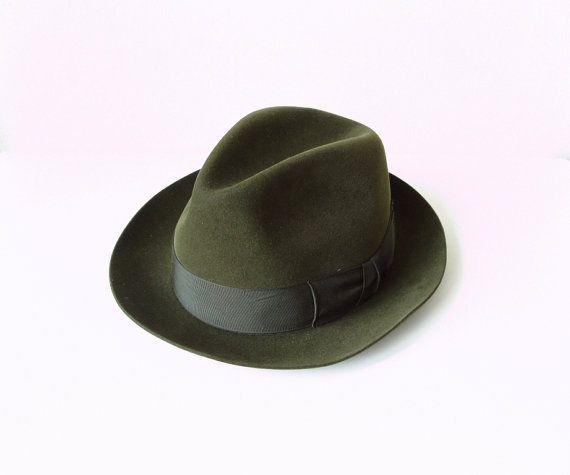 Vintage Mens Fedora Felt Hat stylish dark olive by MerilinsRetro, $45.00