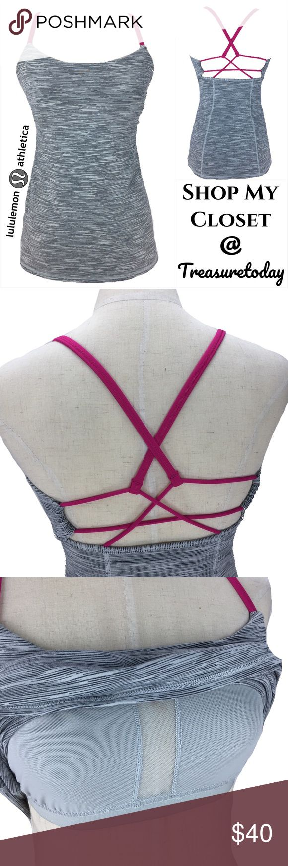 Lululemon Athletica Gray & Pink Open Back Tank Top Beautiful Top with built in bra. Cute design in the back. Gray with pink straps. Excellent pre owned condition. No size tag but it's size 6 for sure. Bundle 2 or more items to get discount 💖 lululemon athletica Tops Tank Tops