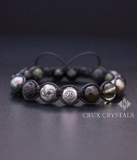 Mens Peace Love Bracelet mixte Bracelet de perles de pierre gemme, Macrame Bracelet Shamballa Bracelet de Wrap, Crux cristaux Onyx lave Pierre Serpentine