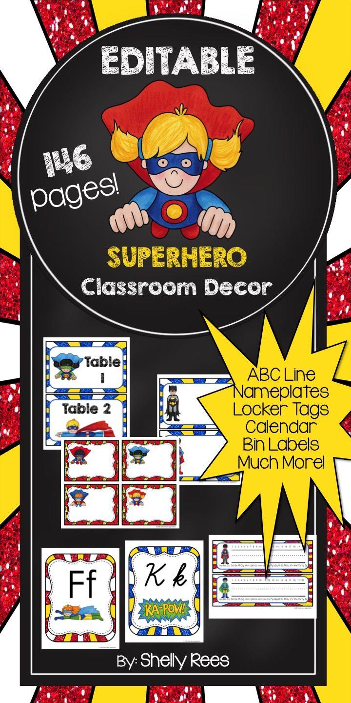 Classroom Decoration Superhero ~ Classroom decor superhero theme editable