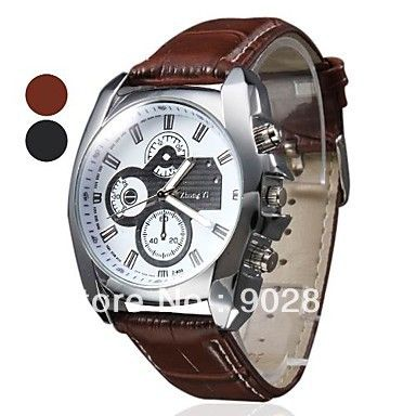 Fashionable Leather Band Big Dial Analog Quartz Watches  Mens  Wrist Watch Clock Hours Brown and Black-in Wristwatches from Watches on Aliex...