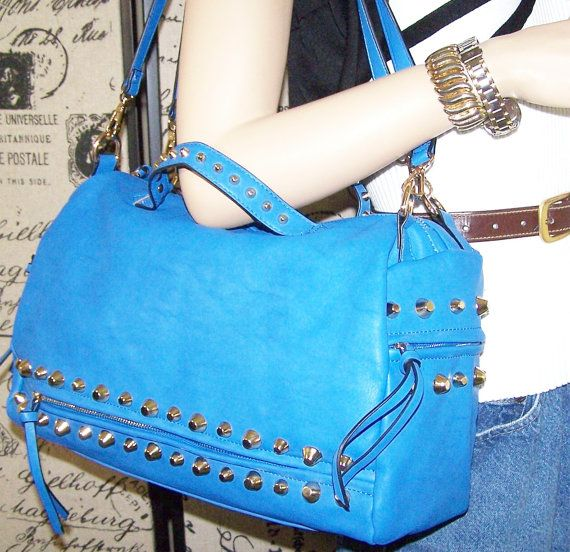 Dslr Camera bag purse blue faux leather with by SnugglensANNEX, $89.99