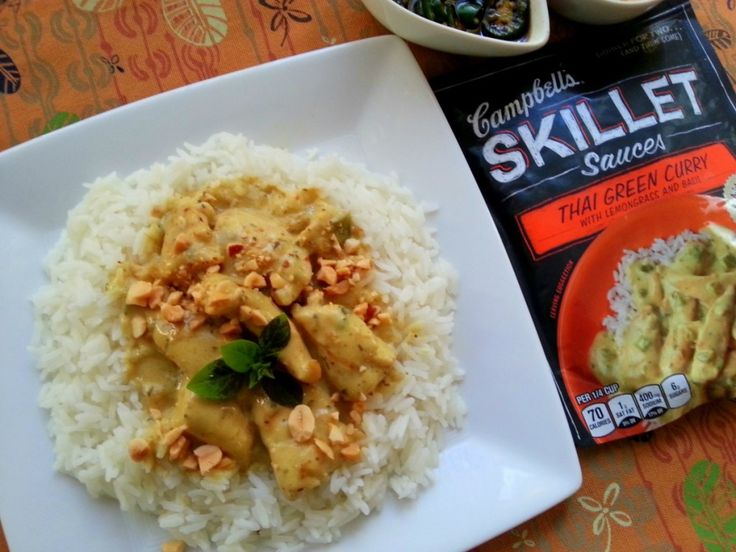 Thai Green Curry Chicken with Campbells Skillet sauces #CampbellSauces #ad