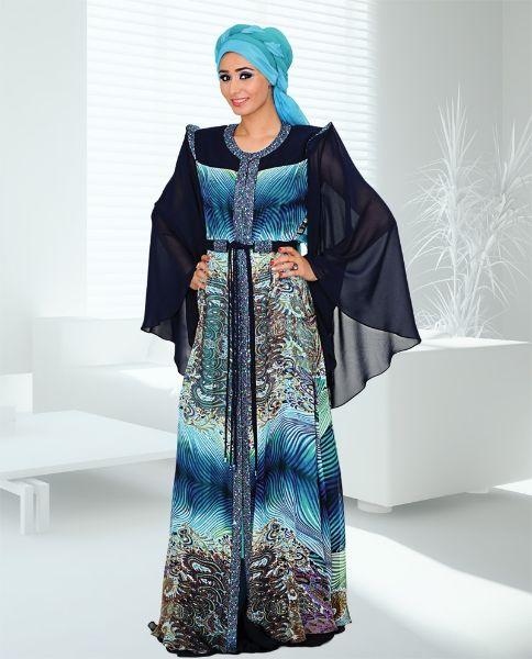 Blue and Ferozi Jalabiya for Girls