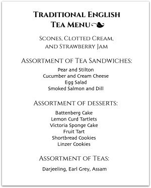 Hosting a tea party? Look through our tea party menus for inspiration. English tea party menu ideas, as well as menus tailored to different tea party themes.