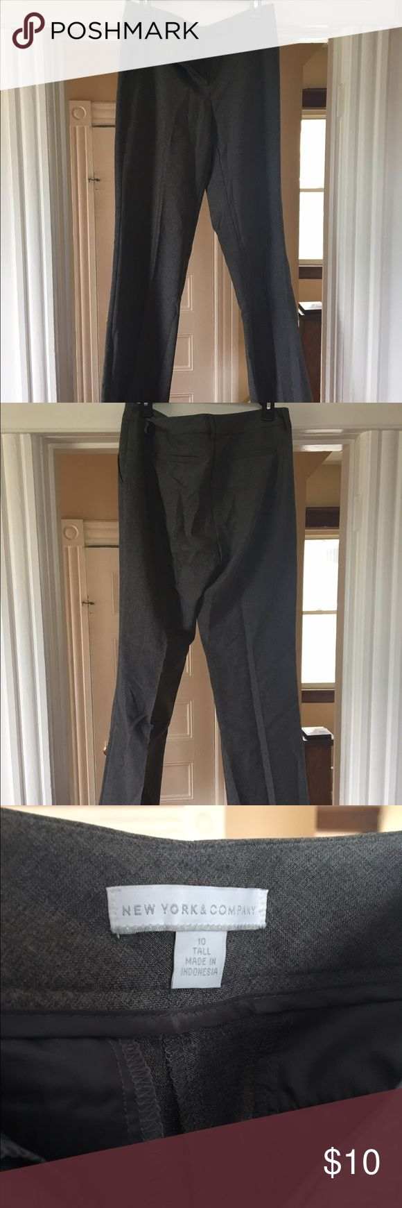 New York and company size 10 tall trousers Charcoal grey, worn one size 10 tall. Material is polyester. Pants Trousers