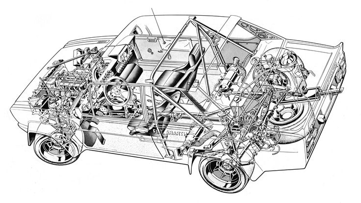 Fiat 131 Abarth Illustrated by artist unknown