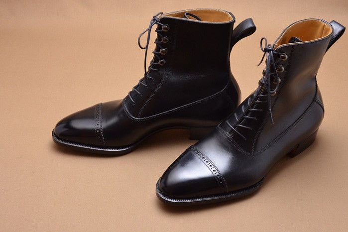 049bfd6cb8f8 Details about Handmade Men Black leather ankle boots